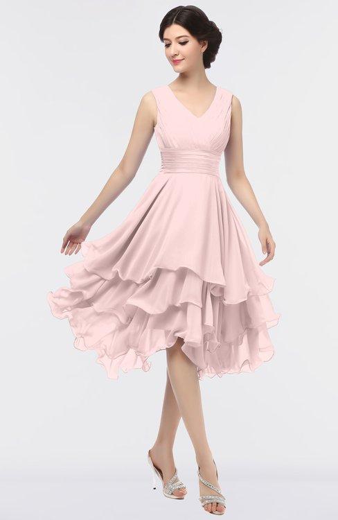 ColsBM Grace Veiled Rose Elegant V-neck Sleeveless Zip up Ruching Bridesmaid Dresses