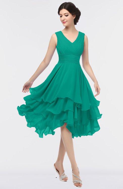ColsBM Grace Viridian Green Elegant V-neck Sleeveless Zip up Ruching Bridesmaid Dresses