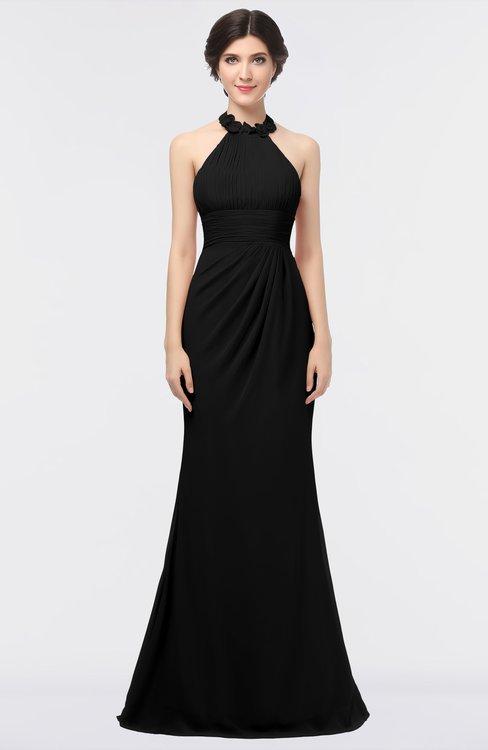 ColsBM Miranda Black Antique Halter Sleeveless Zip up Floor Length Bridesmaid Dresses