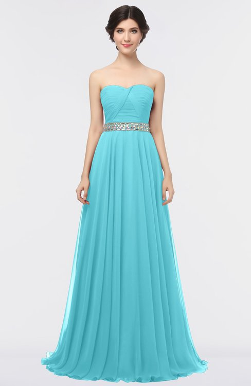 ColsBM Zahra Turquoise Elegant A-line Strapless Sleeveless Half Backless Bridesmaid Dresses