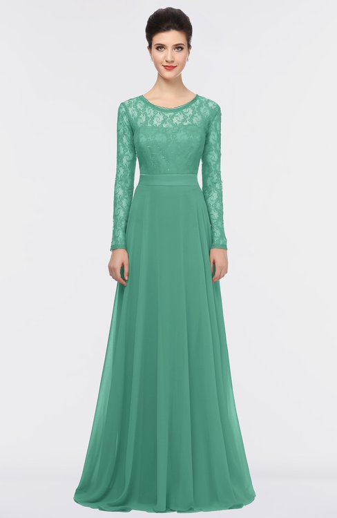 ColsBM Shelly Beryl Green Romantic A-line Long Sleeve Floor Length Lace Bridesmaid Dresses