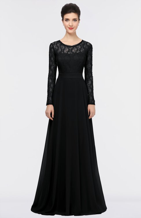 ColsBM Shelly Black Romantic A-line Long Sleeve Floor Length Lace Bridesmaid Dresses