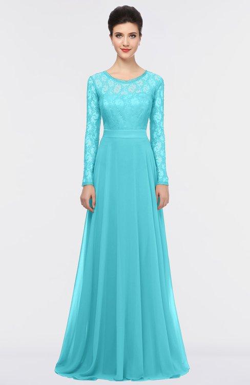 ColsBM Shelly Blue Radiance Romantic A-line Long Sleeve Floor Length Lace Bridesmaid Dresses