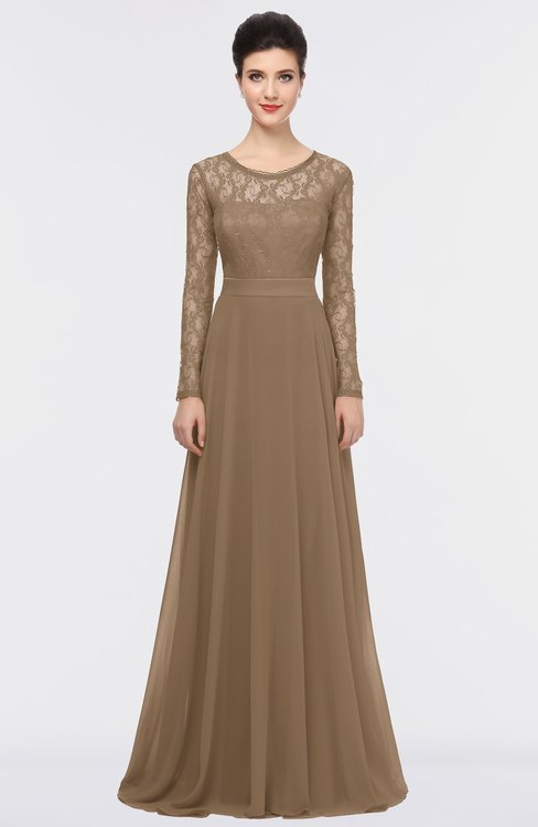 ColsBM Shelly Bronze Brown Romantic A-line Long Sleeve Floor Length Lace Bridesmaid Dresses