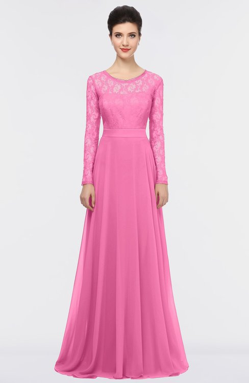 ColsBM Shelly Carnation Pink Romantic A-line Long Sleeve Floor Length Lace Bridesmaid Dresses