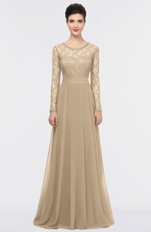 ColsBM Shelly Champagne Romantic A-line Long Sleeve Floor Length Lace Bridesmaid Dresses