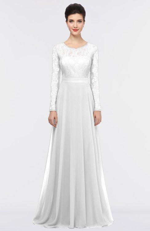 ColsBM Shelly Cloud White Romantic A-line Long Sleeve Floor Length Lace Bridesmaid Dresses