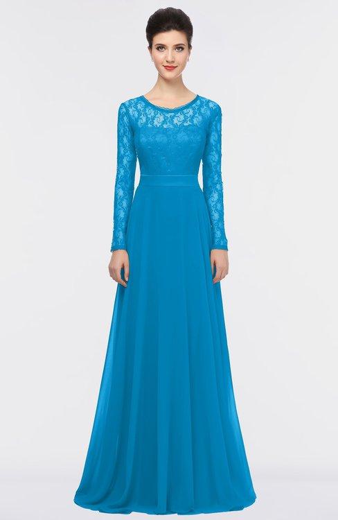 ColsBM Shelly Cornflower Blue Romantic A-line Long Sleeve Floor Length Lace Bridesmaid Dresses
