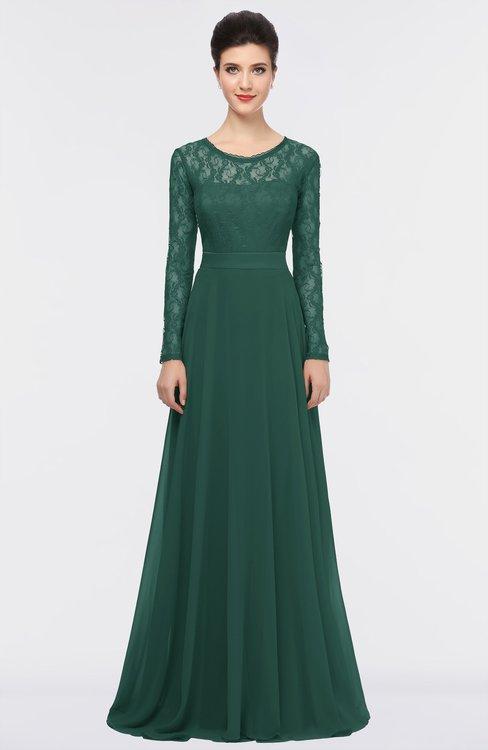 ColsBM Shelly Dark Jade Romantic A-line Long Sleeve Floor Length Lace Bridesmaid Dresses