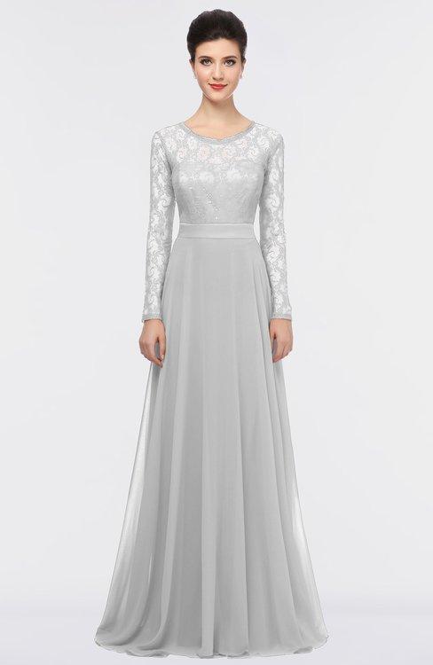 ColsBM Shelly Dove Grey Romantic A-line Long Sleeve Floor Length Lace Bridesmaid Dresses