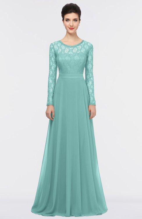 ColsBM Shelly Eggshell Blue Romantic A-line Long Sleeve Floor Length Lace Bridesmaid Dresses