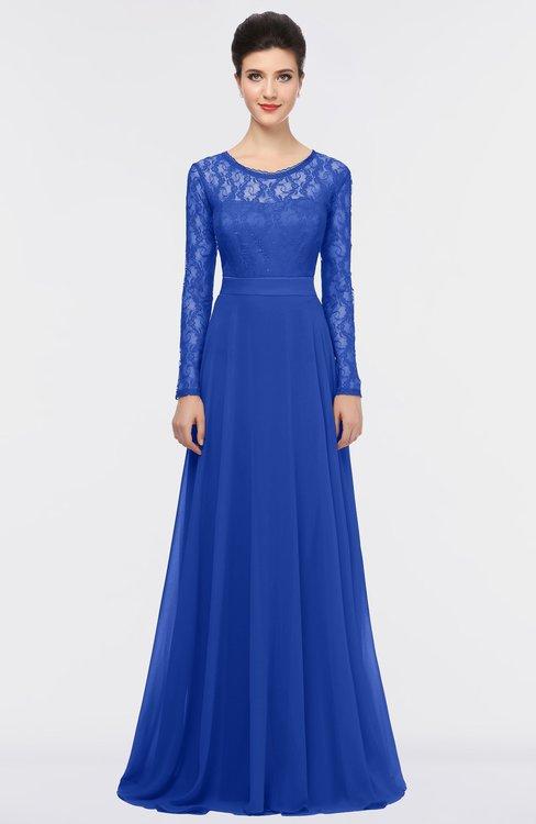 ColsBM Shelly Electric Blue Romantic A-line Long Sleeve Floor Length Lace Bridesmaid Dresses