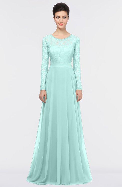 ColsBM Shelly Fair Aqua Romantic A-line Long Sleeve Floor Length Lace Bridesmaid Dresses