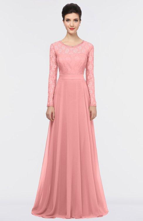 ColsBM Shelly Flamingo Pink Romantic A-line Long Sleeve Floor Length Lace Bridesmaid Dresses