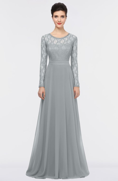 ColsBM Shelly Frost Grey Romantic A-line Long Sleeve Floor Length Lace Bridesmaid Dresses