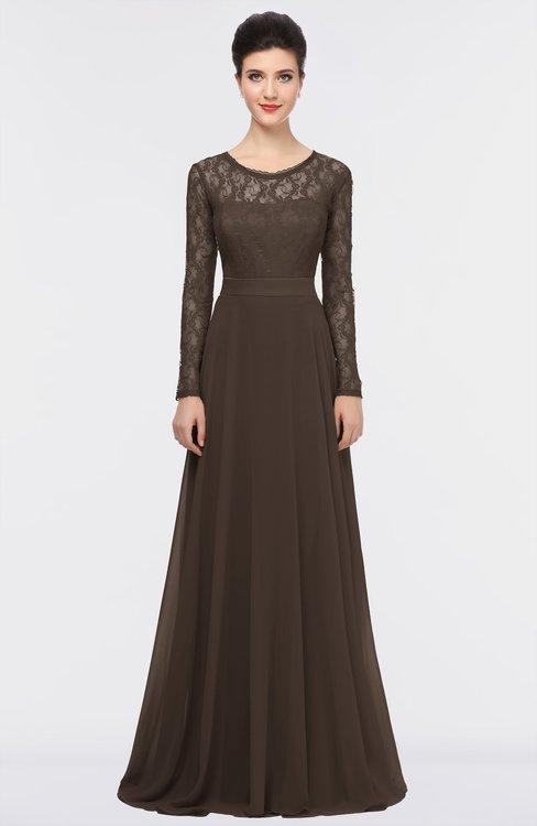 ColsBM Shelly Fudge Brown Romantic A-line Long Sleeve Floor Length Lace Bridesmaid Dresses