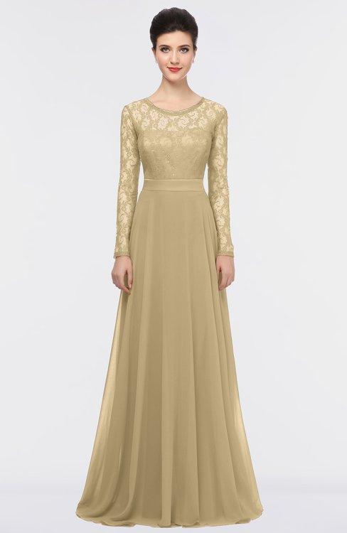 ColsBM Shelly Gold Romantic A-line Long Sleeve Floor Length Lace Bridesmaid Dresses