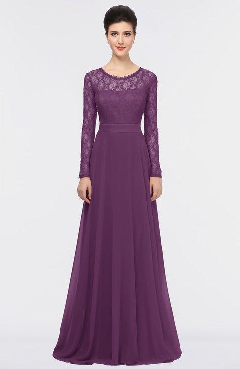 ColsBM Shelly Grape Juice Romantic A-line Long Sleeve Floor Length Lace Bridesmaid Dresses