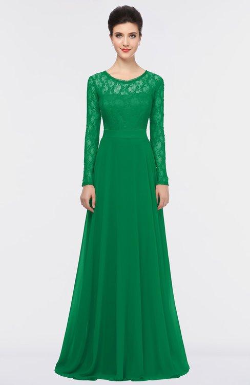 ColsBM Shelly Green Romantic A-line Long Sleeve Floor Length Lace Bridesmaid Dresses