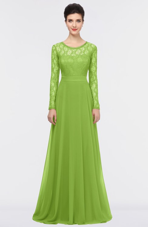 ColsBM Shelly Greenery Romantic A-line Long Sleeve Floor Length Lace Bridesmaid Dresses