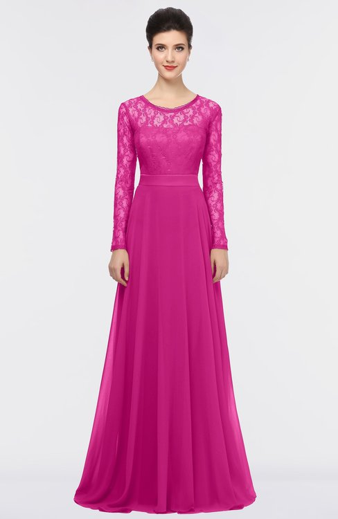 ColsBM Shelly Hot Pink Romantic A-line Long Sleeve Floor Length Lace Bridesmaid Dresses