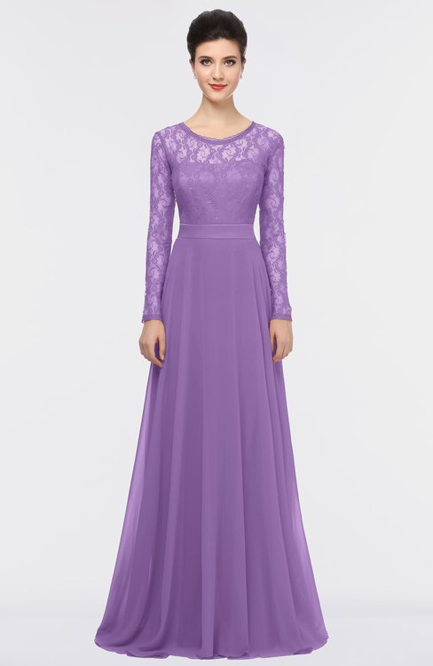 ColsBM Shelly Hyacinth Romantic A-line Long Sleeve Floor Length Lace Bridesmaid Dresses