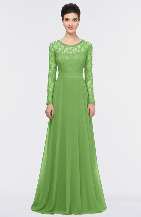 ColsBM Shelly Kiwi Green Romantic A-line Long Sleeve Floor Length Lace Bridesmaid Dresses