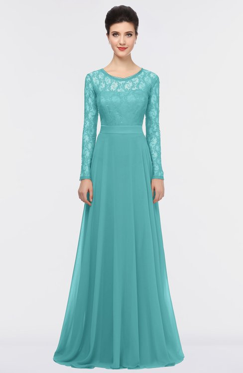 ColsBM Shelly Lake Blue Romantic A-line Long Sleeve Floor Length Lace Bridesmaid Dresses