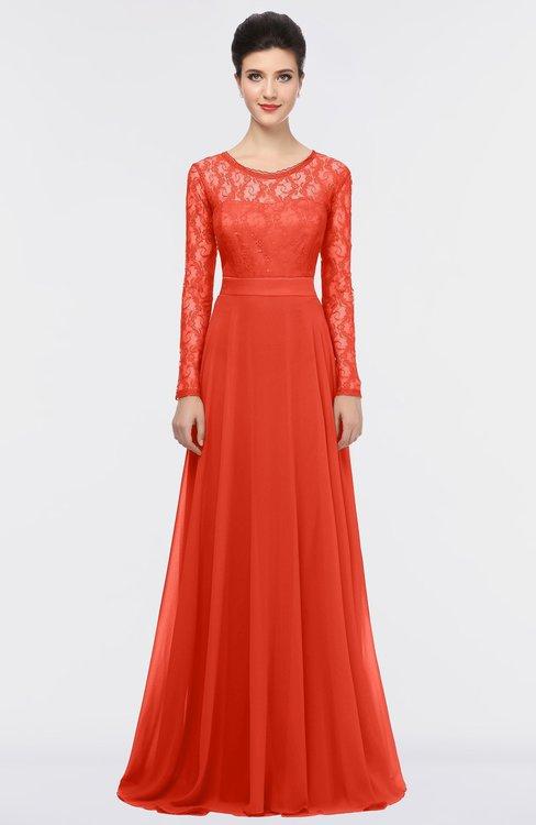 ColsBM Shelly Mandarin Red Romantic A-line Long Sleeve Floor Length Lace Bridesmaid Dresses