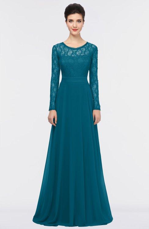 ColsBM Shelly Midnight Blue Romantic A-line Long Sleeve Floor Length Lace Bridesmaid Dresses