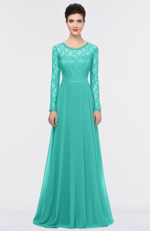 ColsBM Shelly Mint Green Romantic A-line Long Sleeve Floor Length Lace Bridesmaid Dresses