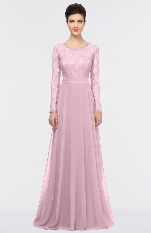 ColsBM Shelly Mist Pink Romantic A-line Long Sleeve Floor Length Lace Bridesmaid Dresses