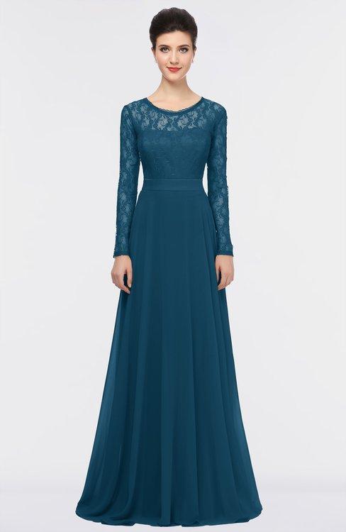 ColsBM Shelly Moroccan Blue Romantic A-line Long Sleeve Floor Length Lace Bridesmaid Dresses
