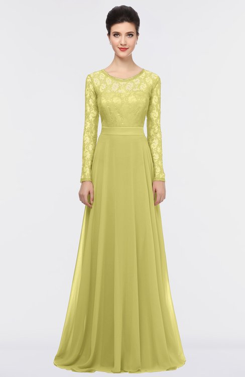 ColsBM Shelly Muted Lime Romantic A-line Long Sleeve Floor Length Lace Bridesmaid Dresses