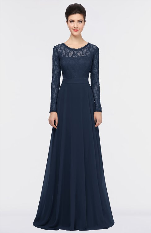 ColsBM Shelly Navy Blue Romantic A-line Long Sleeve Floor Length Lace Bridesmaid Dresses