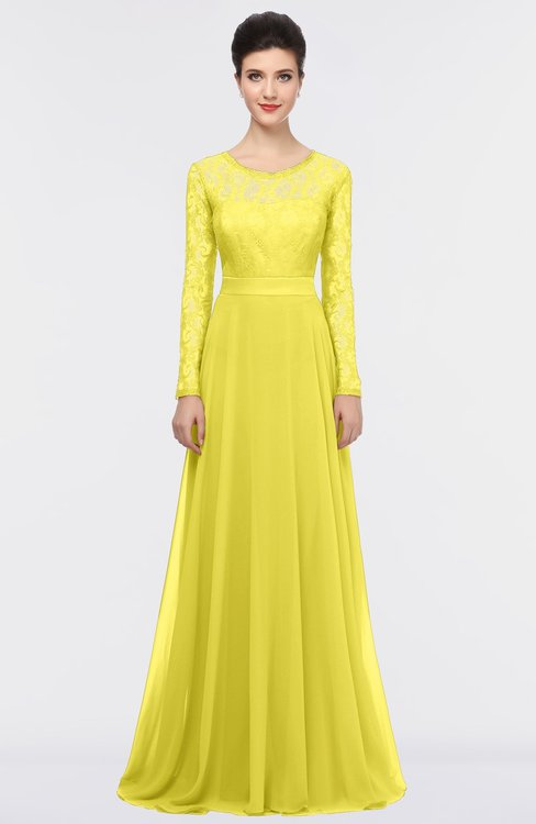 ColsBM Shelly Pale Yellow Romantic A-line Long Sleeve Floor Length Lace Bridesmaid Dresses