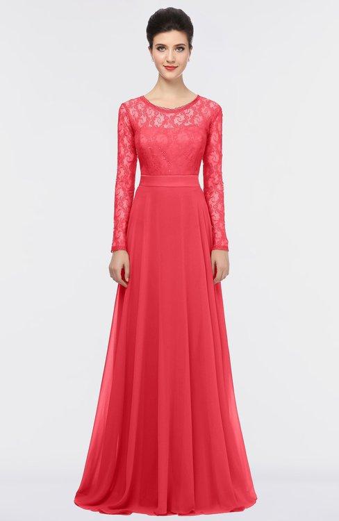 ColsBM Shelly Paradise Pink Romantic A-line Long Sleeve Floor Length Lace Bridesmaid Dresses
