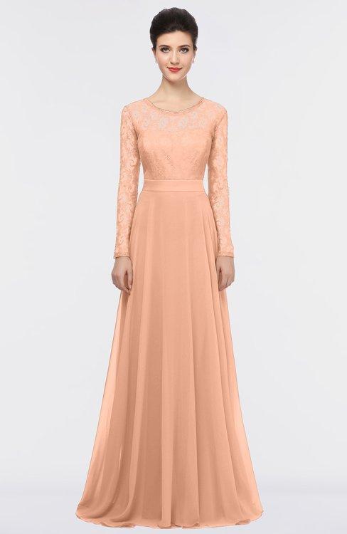 ColsBM Shelly Peach Nectar Romantic A-line Long Sleeve Floor Length Lace Bridesmaid Dresses