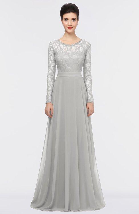 ColsBM Shelly Platinum Romantic A-line Long Sleeve Floor Length Lace Bridesmaid Dresses