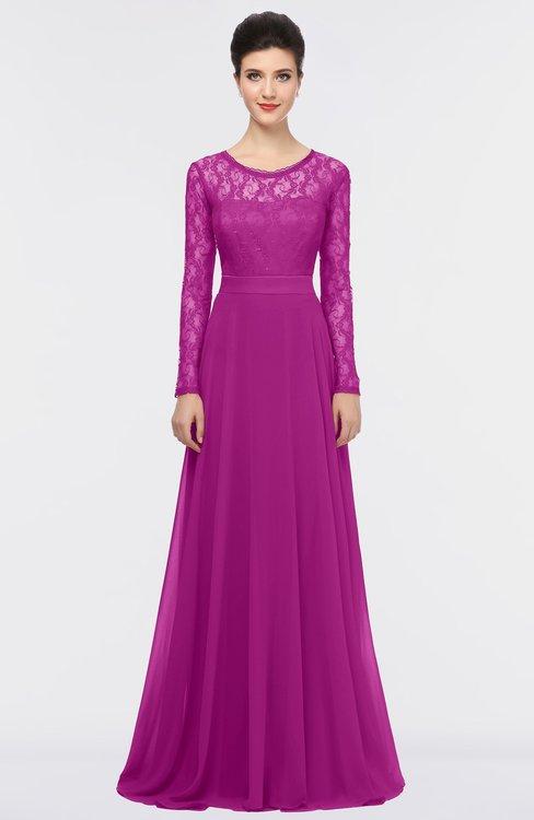 ColsBM Shelly Raspberry Romantic A-line Long Sleeve Floor Length Lace Bridesmaid Dresses