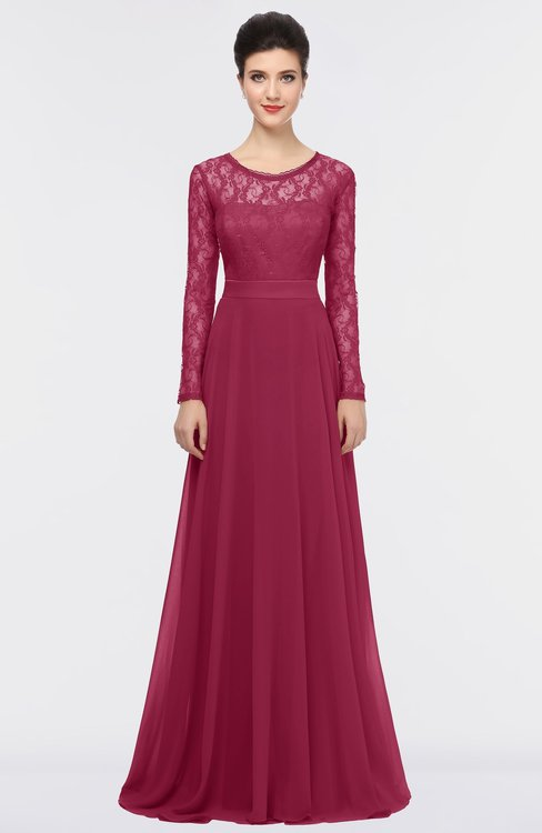 ColsBM Shelly Red Bud Romantic A-line Long Sleeve Floor Length Lace Bridesmaid Dresses