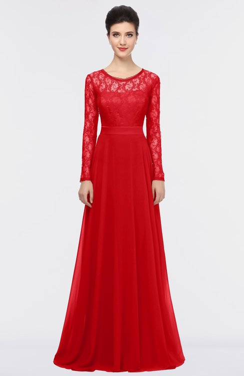 ColsBM Shelly Red Romantic A-line Long Sleeve Floor Length Lace Bridesmaid Dresses