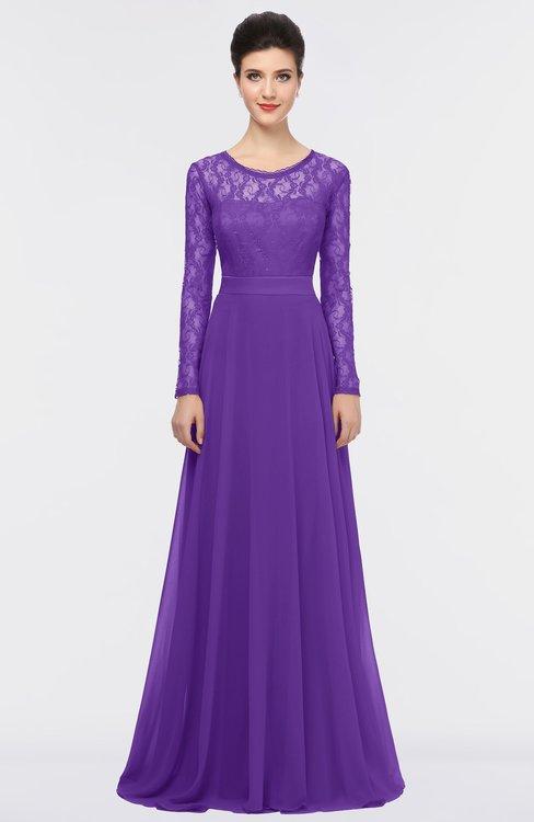 ColsBM Shelly Royal Purple Romantic A-line Long Sleeve Floor Length Lace Bridesmaid Dresses