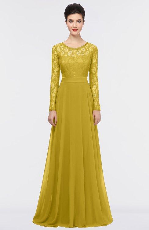ColsBM Shelly Sauterne Romantic A-line Long Sleeve Floor Length Lace Bridesmaid Dresses