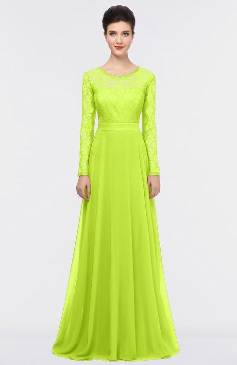 ColsBM Shelly Sharp Green Romantic A-line Long Sleeve Floor Length Lace Bridesmaid Dresses