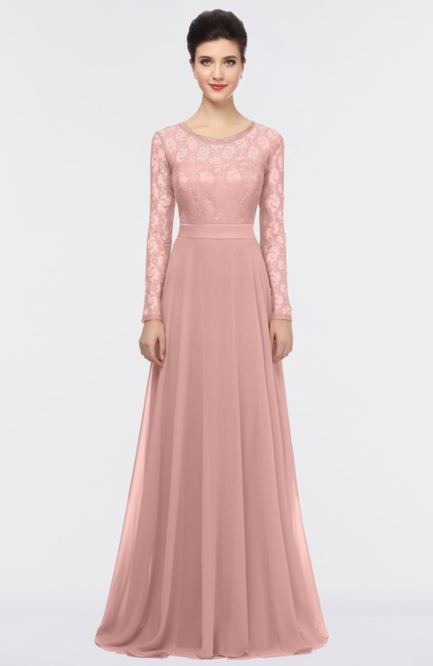 ColsBM Shelly Silver Pink Romantic A-line Long Sleeve Floor Length Lace Bridesmaid Dresses