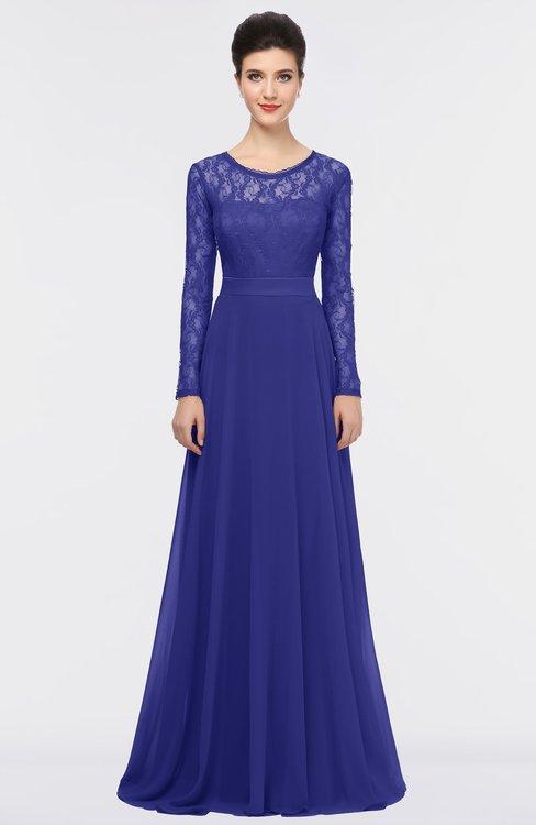 ColsBM Shelly Spectrum Blue Romantic A-line Long Sleeve Floor Length Lace Bridesmaid Dresses