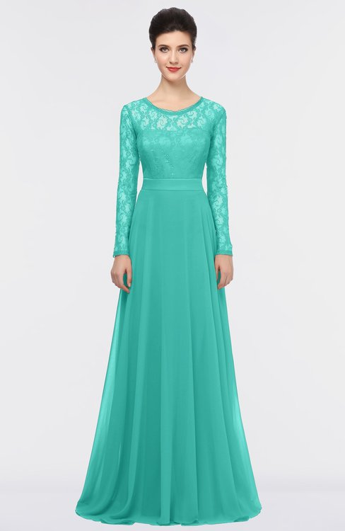 ColsBM Shelly Turquoise G97 Romantic A-line Long Sleeve Floor Length Lace Bridesmaid Dresses