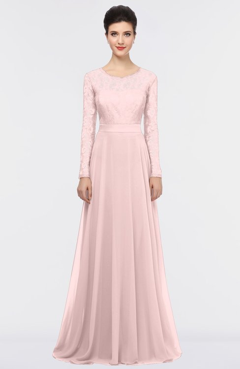 ColsBM Shelly Veiled Rose Romantic A-line Long Sleeve Floor Length Lace Bridesmaid Dresses