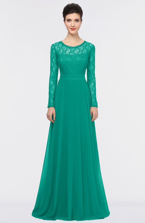 ColsBM Shelly Viridian Green Romantic A-line Long Sleeve Floor Length Lace Bridesmaid Dresses